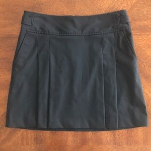 Express black pinstripe pleated buckle mini skirt